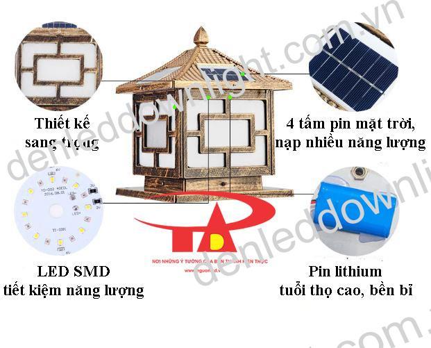 đèn trụ cổng năng lượng mặt trời GDL03 chiết khấu cao, nên mua